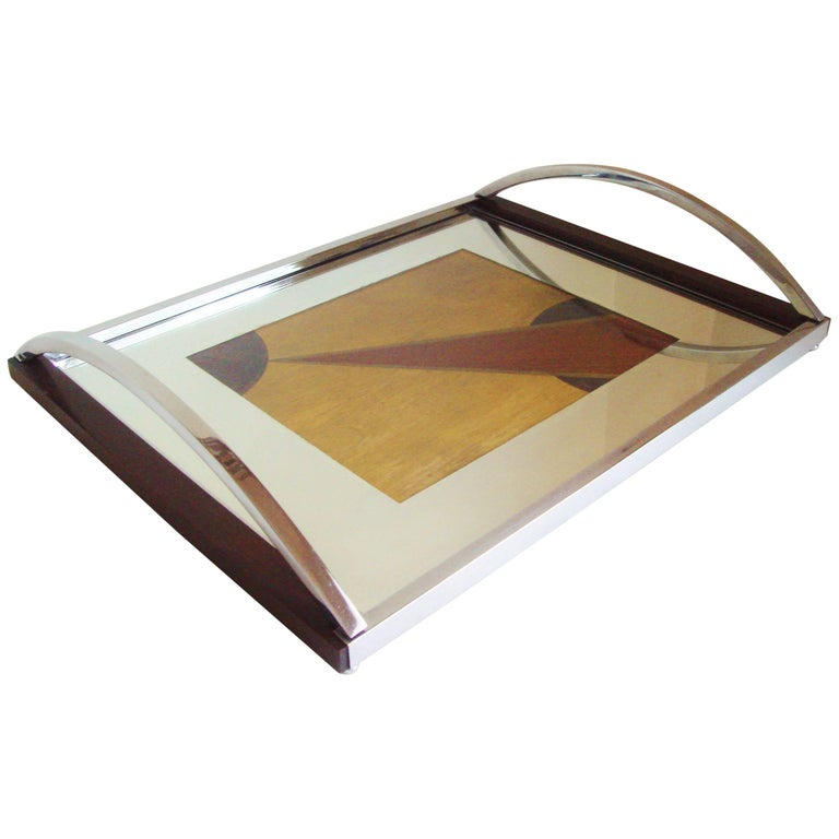English Art Deco Chrome, Rosewood, Mirror with Polychrome Veneer Cocktail Tray For Sale