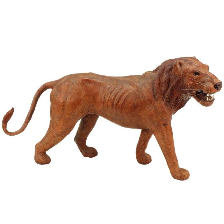 Leather Lion Sculpture