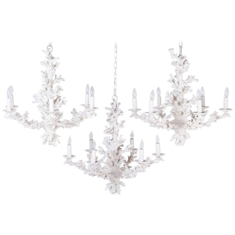 Group of Three Mid-Century Faux Coral Chandeliers, Priced Individually