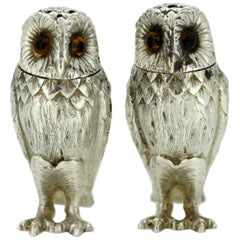 Pair of Silver Owl Salt and Pepper Shakers, Asprey & Co, Richard Comyns