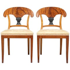 Early 20th Century Antique Swedish Biedermeier Chairs Quilted Mahogany Ormolu