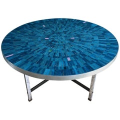 Blue Mosaic Coffee Table Berthold Mueller-Oerlinghaus, Germany, 1950s