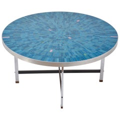 Blue German Mid-Century Modern Mosaic coffee table Berthold Mueller-Oerlinghaus