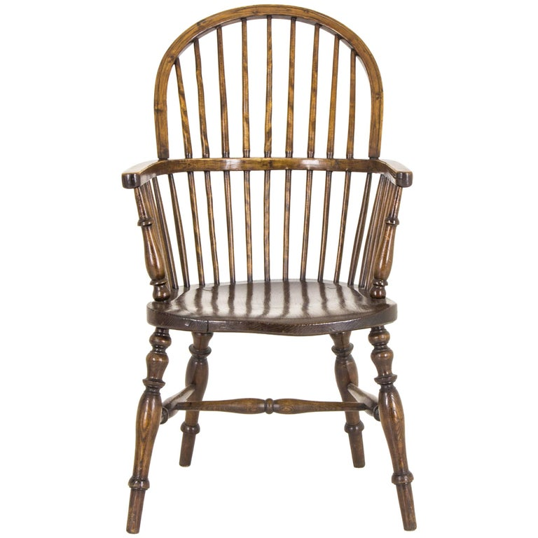Windsor Chair Antique Elm High Back Scotland 1920 For