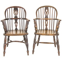 Pair of Windsor Chairs Antique Chairs High Back Chairs, Scotland, 1920