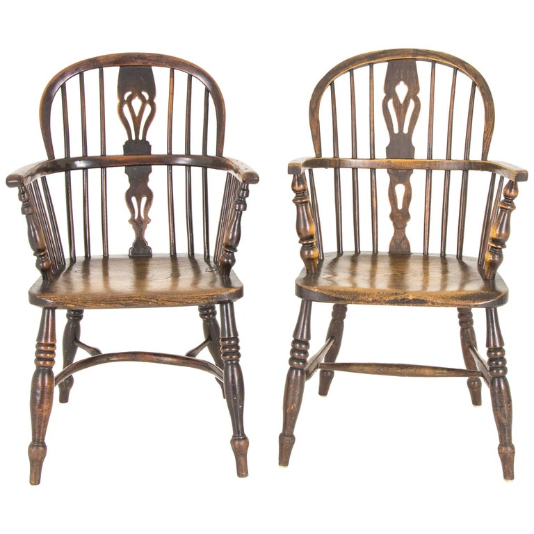 Pair of Windsor Chairs Antique Chairs High Back Chairs, Scotland, 1920 For  Sale - Pair Of Windsor Chairs Antique Chairs High Back Chairs, Scotland
