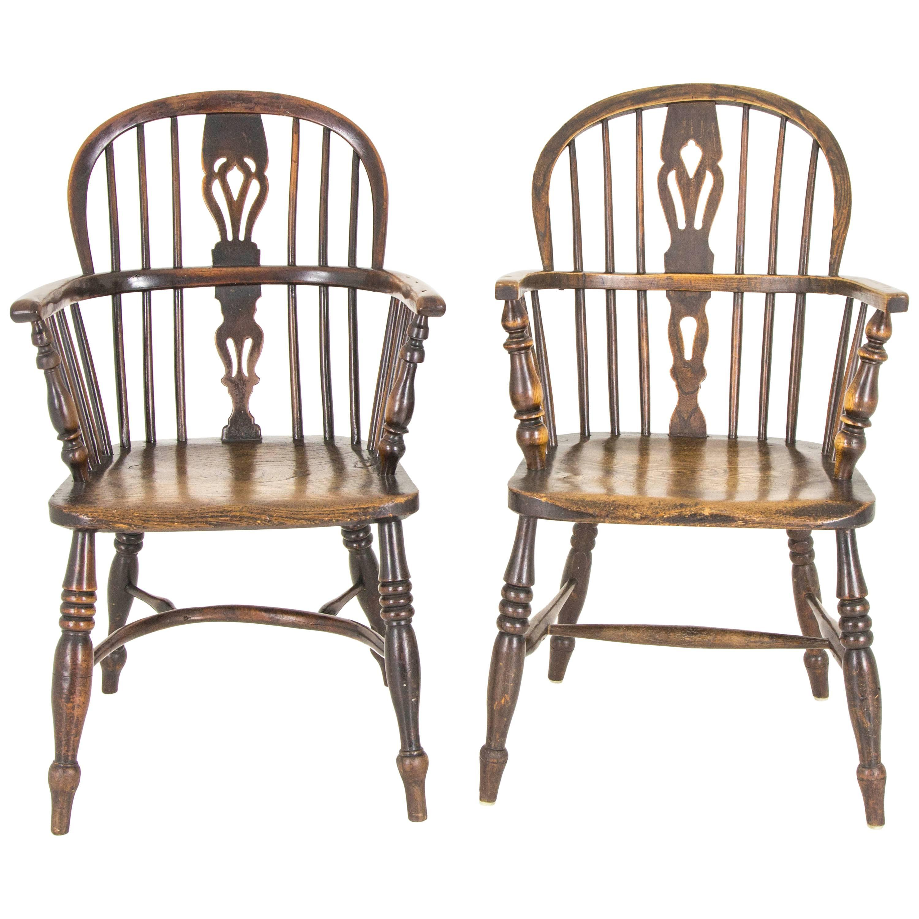 Attractive Pair Of Windsor Chairs Antique Chairs High Back Chairs, Scotland, 1920 1