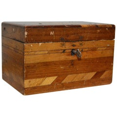 Small Wooden Inlaid Box with Key