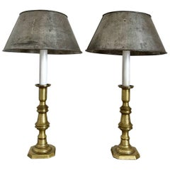 Pair of Brass Candlestick Lamps with Zinc Shades