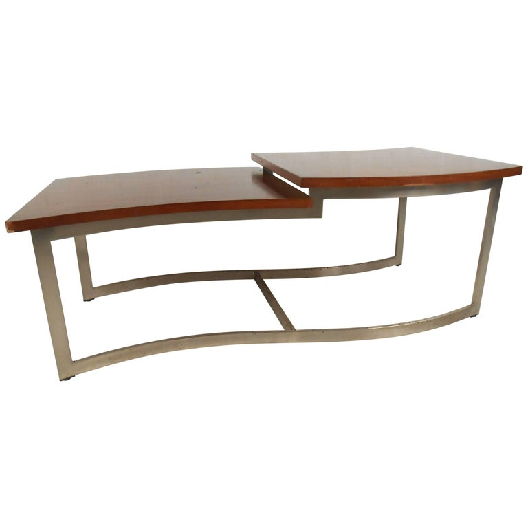Lane Blonde Coffee Table: Amazing Mid-Century Modern Two-Level Coffee Table By Lane