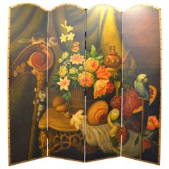 Fantastic Wood Painted Screen Early 20th Century