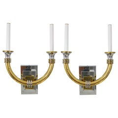 Pair Art Deco Style Wall Sconces in Polished Chrome and Brass