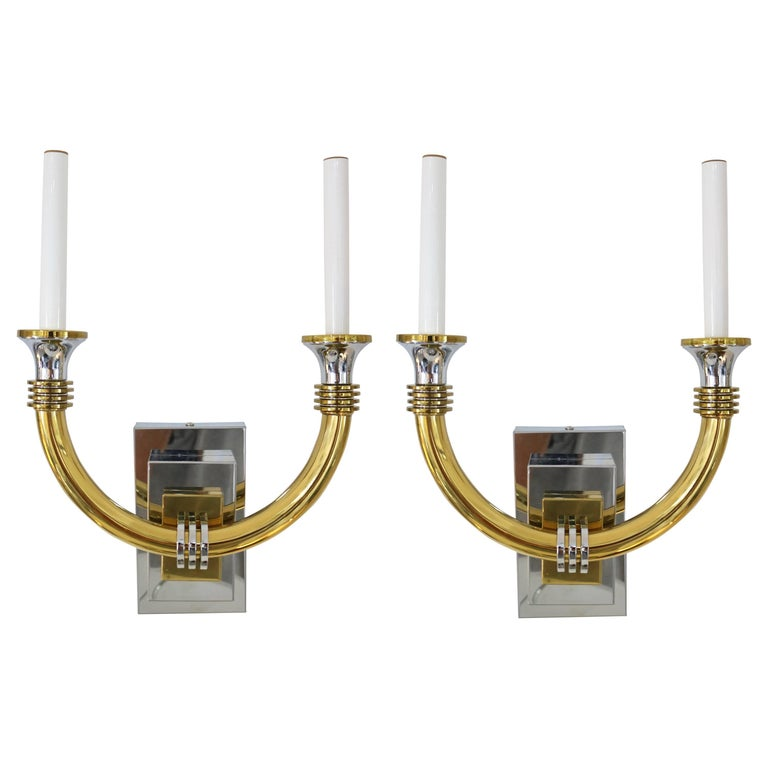 Art Deco Brass Wall Sconces : Pair of Karl Springer Style Art Deco Wall Sconces in Polished Chrome and Brass For Sale at 1stdibs