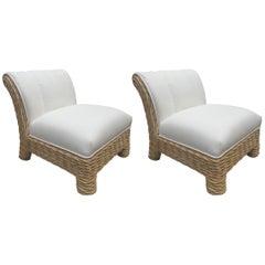 Pair of McGuire Rattan / Wicker Weaved Club Chairs