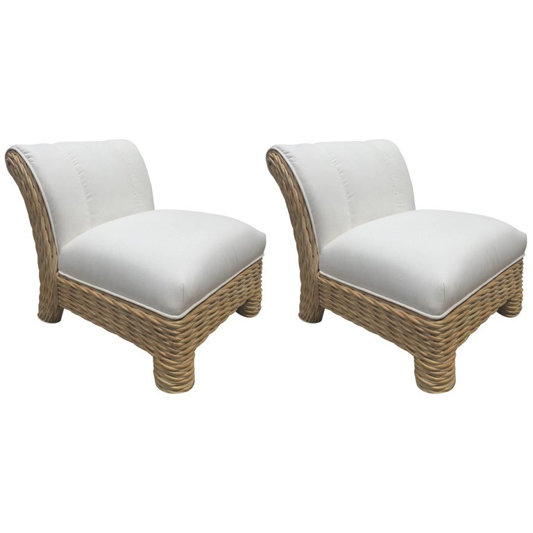 Pair of Micheal Taylor Rattan / Wicker Weaved Club Chairs