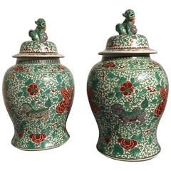 Pair of Chinese Famille Verte Covered Jars with Foo Dog Design, 20th Century