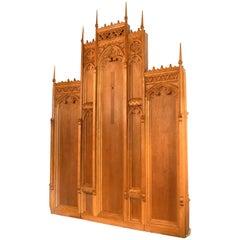 Gothic Oak Altarpiece with Deco Details