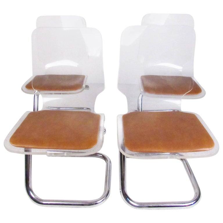 Luigi Bandini Dining Chairs in Lucite and Chrome