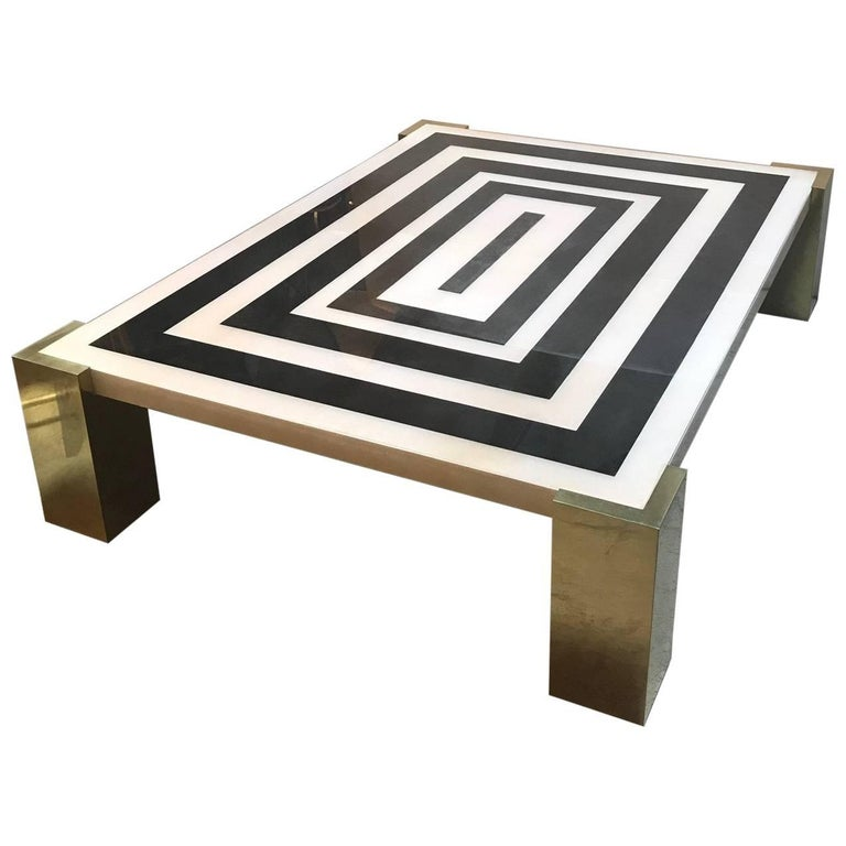 Kubo Square Coffee Table: Kubo Design Large Parchment And Brass Cube Base Coffee