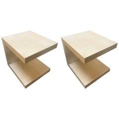"Pair of Goatskin Side Tables ""C"" Design"