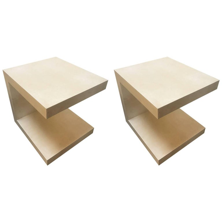 "Pair of Goatskin Side Tables ""C"" Design For Sale"