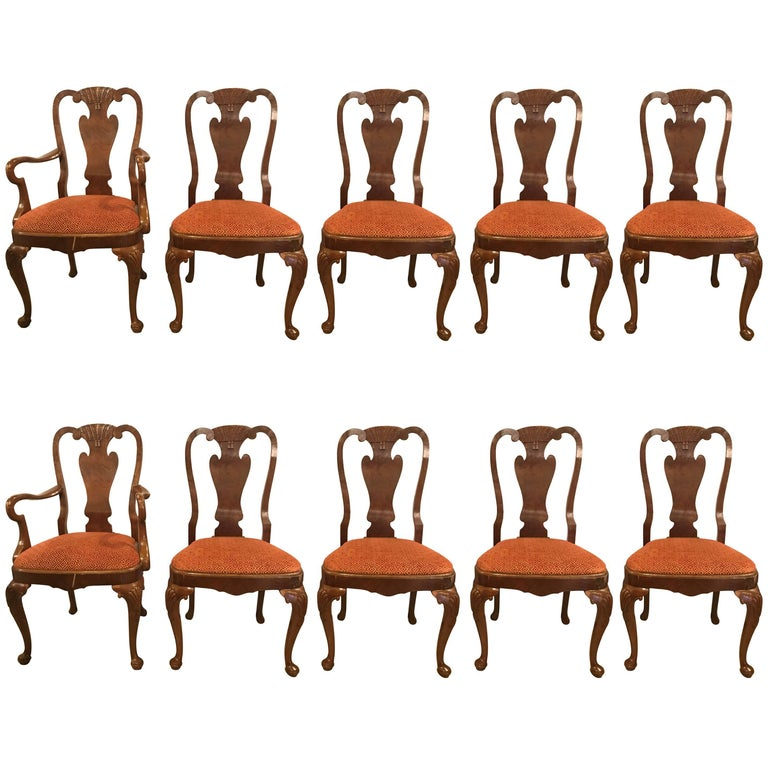 Set of Ten Queen Anne Style Dining Chairs, Pair of Arm and Eight Side Chairs For Sale