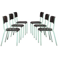 Set of Six Bakelite and Metal Modern Chairs, circa 1930