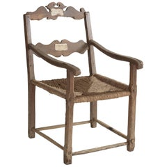 Oversized Oak and Rush Seat Farm Chair, circa 1720