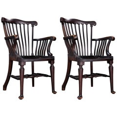 Walnut Elbow Chairs, circa 1900
