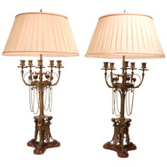 Pair of Renaissance revival Five-Arm Candelabra Mounted as Lamps