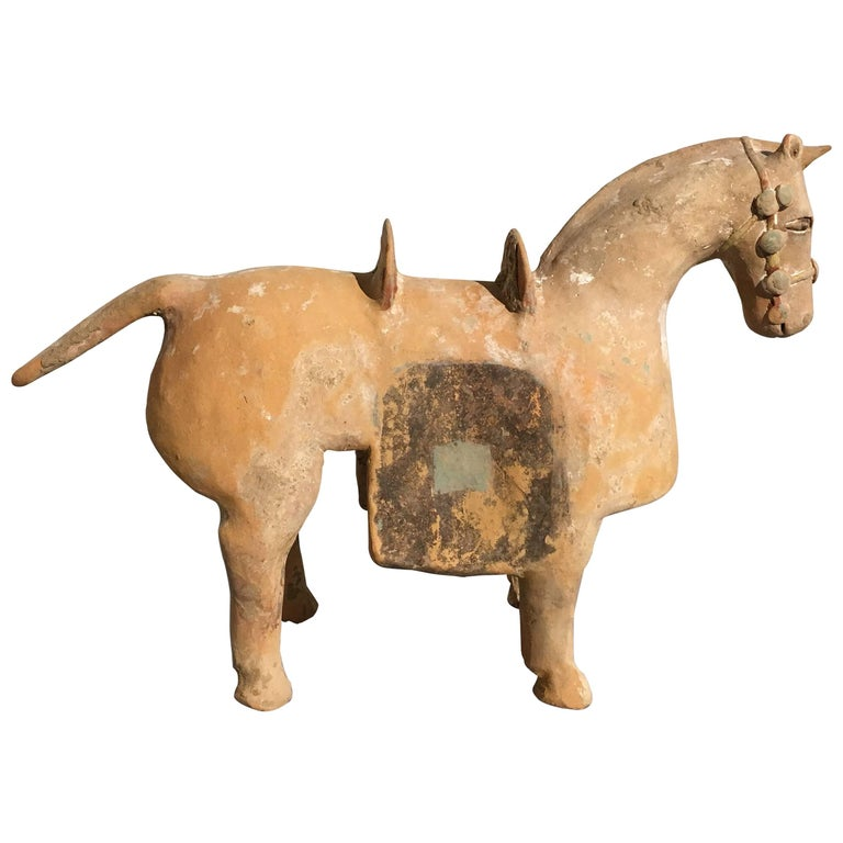Chinese Six Dynasties Pottery Model of an Armored Horse, 3rd-4th Century For Sale