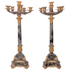 Tall Pair of Charles X Verdi Antico Marble and Gilt Bronze Candelabra