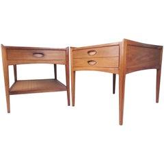 Pair of Mid-Century Modern Walnut Lamp Tables