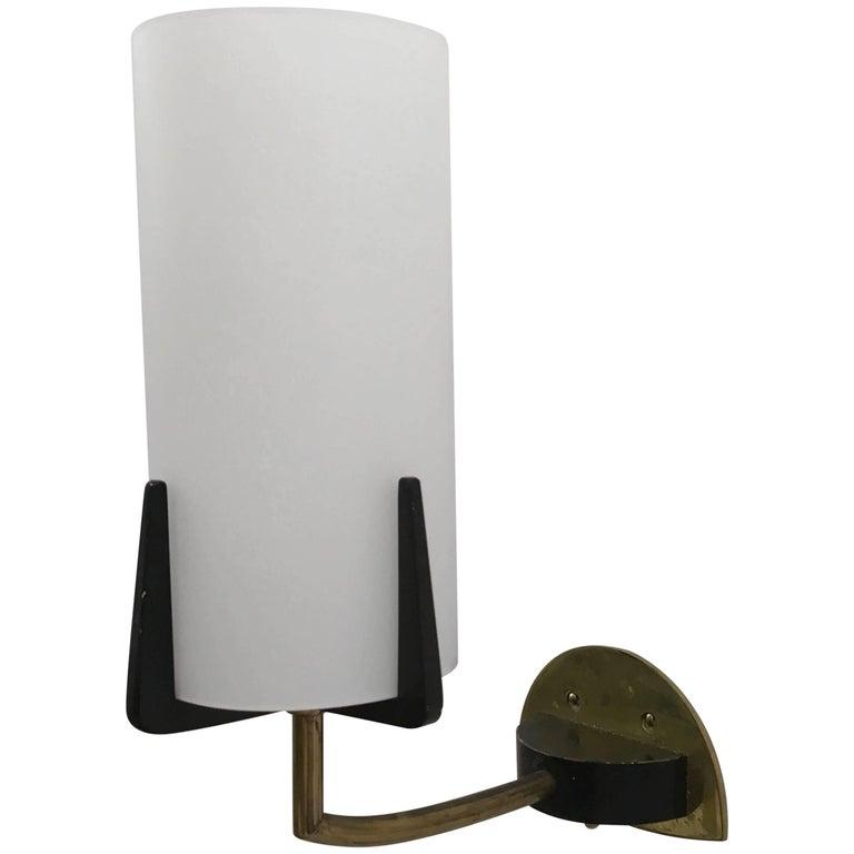 Brass Opaline Glass Sconce Wall Lamp by Rupert Nikoll