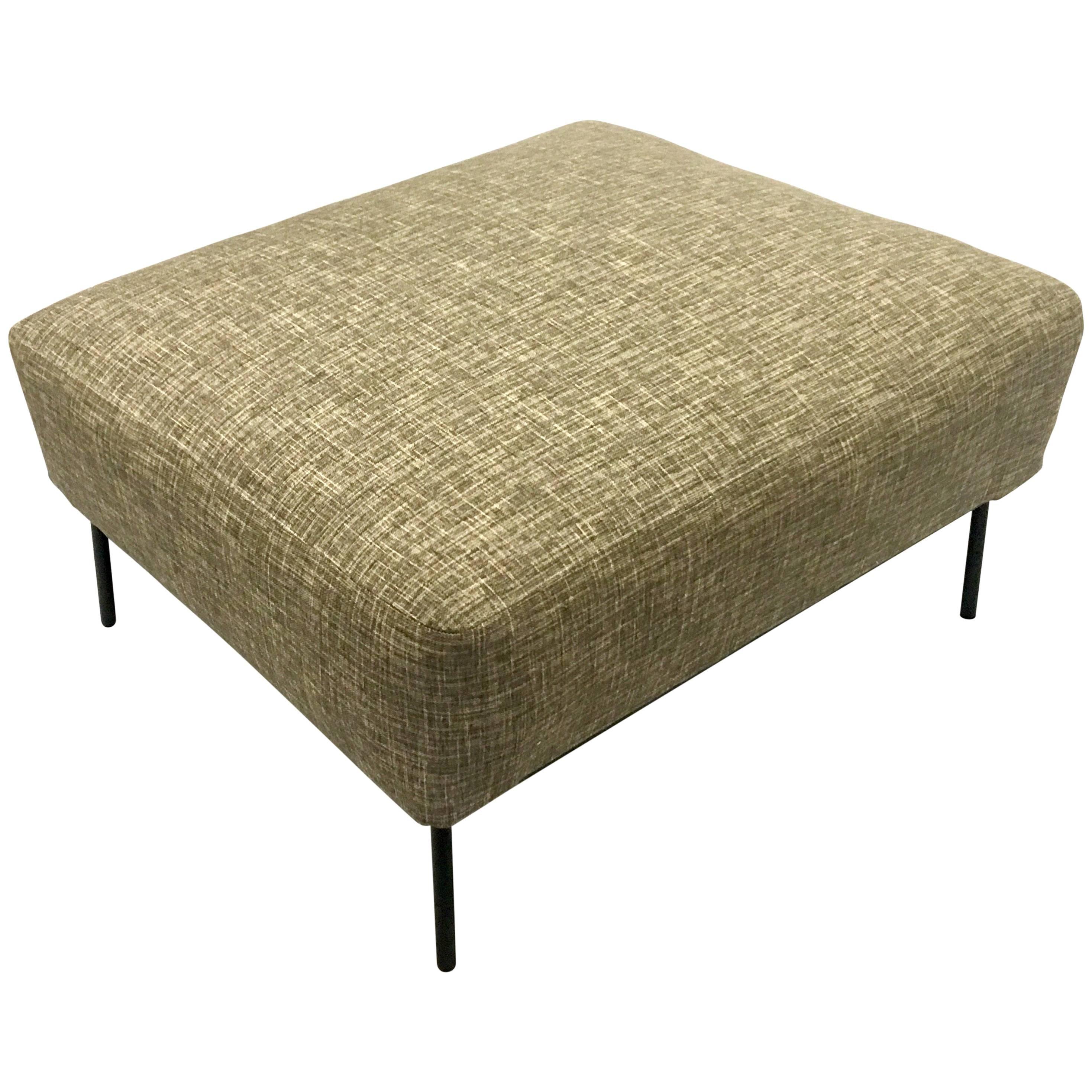1950s, American Mid-Century Modern Upholstered Spring Ottoman on Iron Base