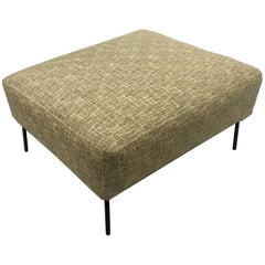 1950s, American Mid-Century Modern Upholstered Spring Ottoman on Iron Base