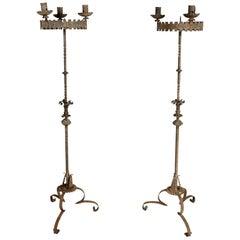 Pair of European Wrought Iron Torcheres
