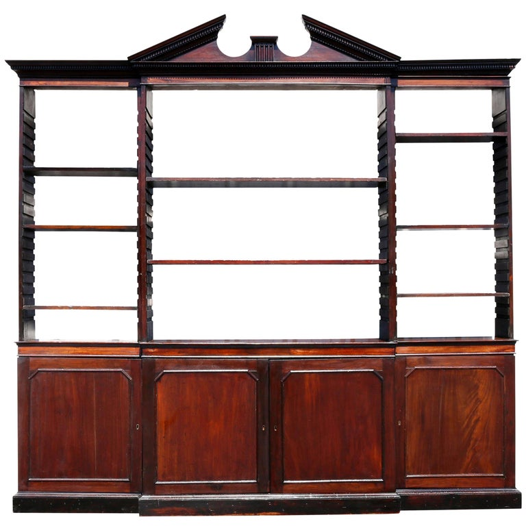 George III Mahogany Breakfront Open Bookcase