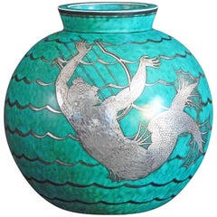 """Merman Playing the Harp,"" Stunning Art Deco Vase by Kage for Gustavsberg"