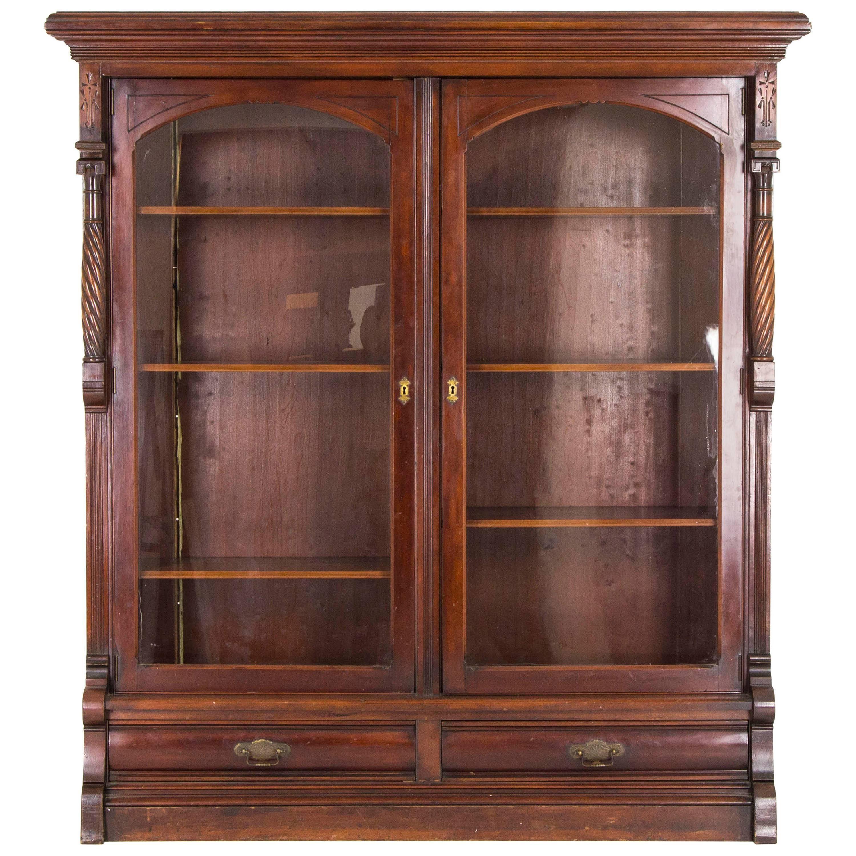 Eastlake Bookcase Antique Display Cabinet Victorian Walnut, B813 ...