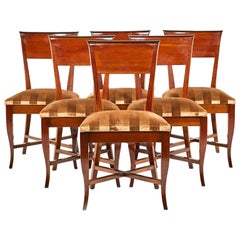Set of Six French Cherrywood Chairs