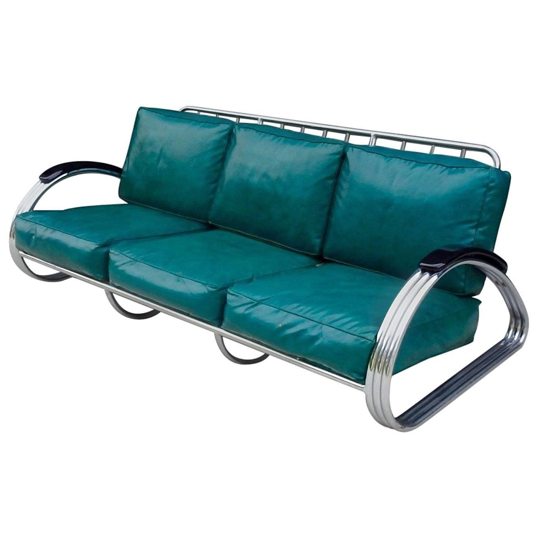 Recently upholstered KEM Weber for Lloyd Art Deco Machine Age Chrome Sofa