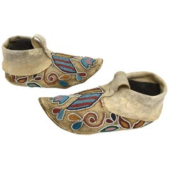 Antique Native American Plains Indian Beaded Moccasins, circa 1880
