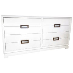 Lacquered Eight-Drawer Double Dresser with Interfacing Brass Pulls