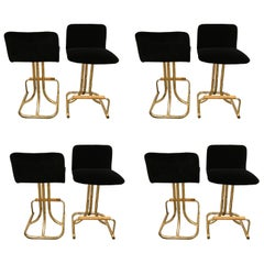 Set of Eight DIA Mid-Century Modern Black Velvet, Brass and Wood Bar Stools
