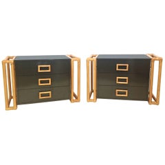 Pair of Rattan and Laminate Side Tables with Drawers
