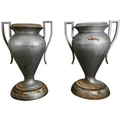 Matched Pair of Large American Art Deco Cast Iron Urns by Kramer Bros
