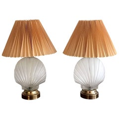 Pair of Shell Form Glass Table Lamps