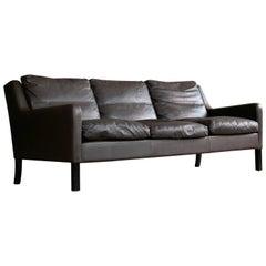 Georg Thams Børge Mogensen Style Sofa in Dark Mocha Colored Leather