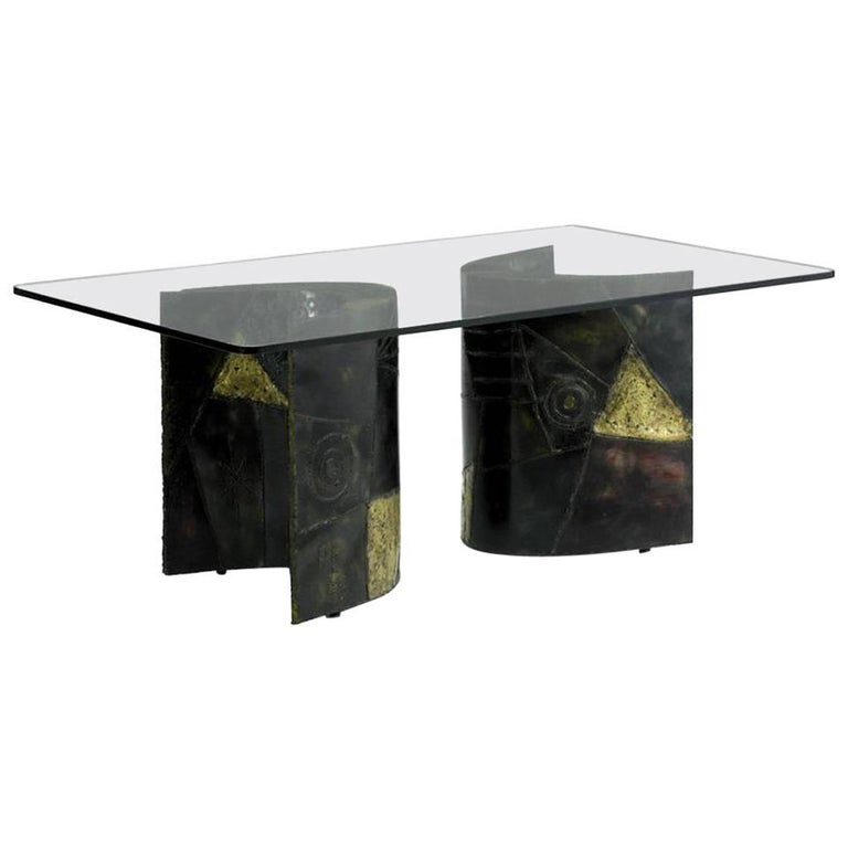 Sculptured Steel Dining Table Bases Paul Evans Directional